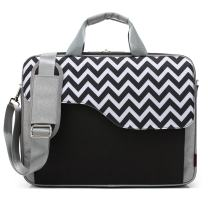 CoolBELL 15.6 Inch Nylon Laptop Bag Shoulder Bag with Strap Multicompartment Messenger Hand Bag Tablet Briefcase for iPad Pro/Laptop/MacBook/Ultrabook/Men/Women/College (Black Wave)