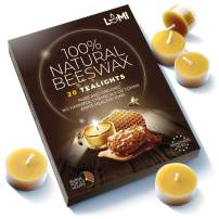 LUMI 100% Organic Beeswax Tea Lights - 20PC Chemical Free and Non Toxic Candles - Fill Your Home with a Honey Scent and a Warm Glow with Pure Beeswax Tea Lights - Clear Cup