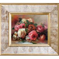"""La Pastiche Discarded Roses with Gold Pearl Framed Oil Painting, 16"""" x 14"""", Multi-Color"""