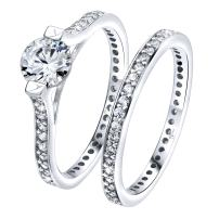 Luxurious Sterling Silver .925 VVS1 Clarity 0.75 CTW AAA (CZ) Cubic Zirconia Woman's 2 Piece Set Ring, Platinum/Rhodium Plated. Luxury Gift Box Packaging. Available Sizes 5 6 7 8 9 10