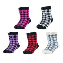 Hot Feet Toddler Boys and Girls 5 Pack Crew Thermal Socks w/Soft Thick Brushing Inside