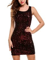 Meaneor Women Sexy Sequins Patchwork Sleeveless Bodycon Mini Party Dress