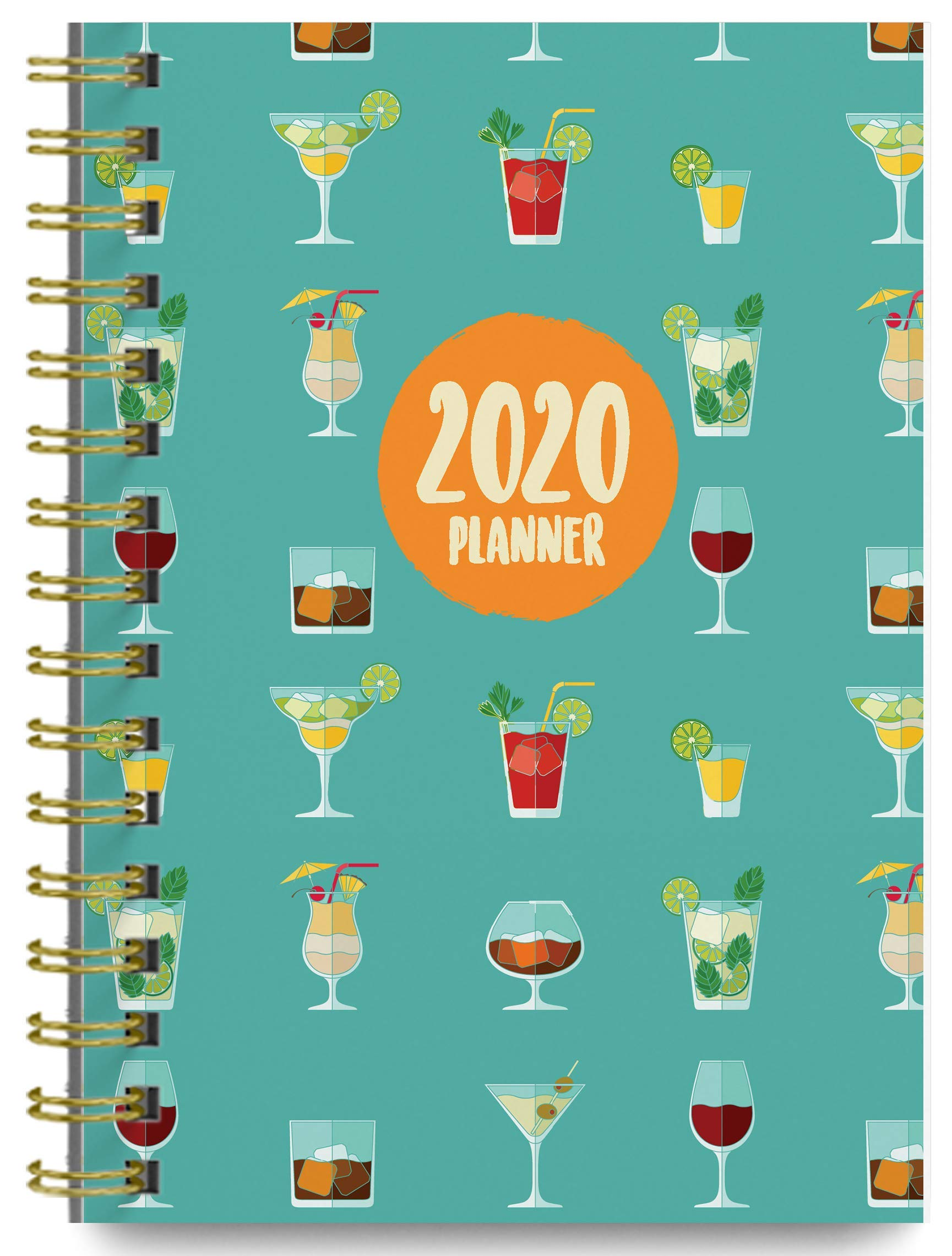 2020 Margaritas Soft Cover Academic Year Day Planner Book by Bright Day, Weekly Monthly Dated Agenda Spiral Bound Organizer, 16 Month Calendar 6.25 x 8.25 Inch,