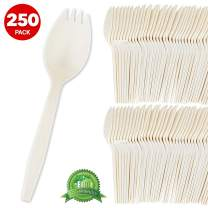 Eco Friendly Sporks (250 Count) Biodegradable Cutlery, Kid Safe 2 in 1 Utensils Compostable Cornstarch Sporks – Heavy Weight Fork Spoon Great for School Lunch, Cafeteria, Restaurant, Meals, Parties