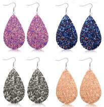 FIBO STEEL 4-8 Pairs Lightweight Leather Drop Earrings for Women Boho Teardrop Dangle Earring Set