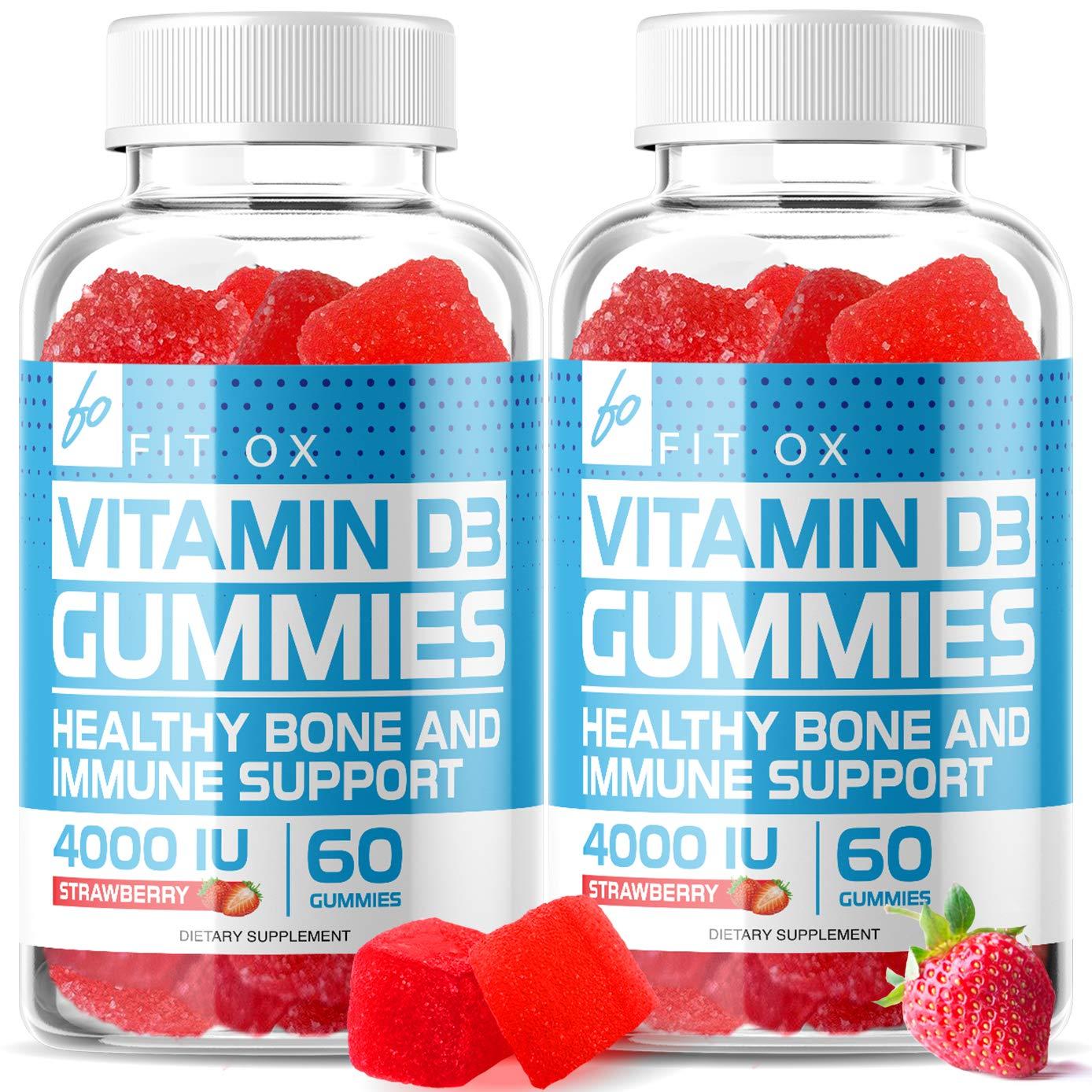 Vitamin D Gummies, Chewable Vitamin D3 w/Zinc, Echinacea Supplements 4000 IU for Adults Kids - Immune Booster, Bone Health, Joint Muscle Support -Tablet Powder Alternative-Vegan (2 Pack)