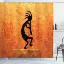 "Ambesonne Retro Shower Curtain, Kokopelli Character Print on Grunge Background, Cloth Fabric Bathroom Decor Set with Hooks, 70"" Long, Orange Black"