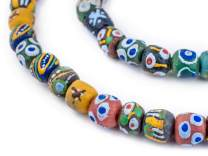 TheBeadChest Mixed Krobo Powder Glass Beads Round 12mm Ghana African Multicolor Large Hole 29 Inch Strand Handmade