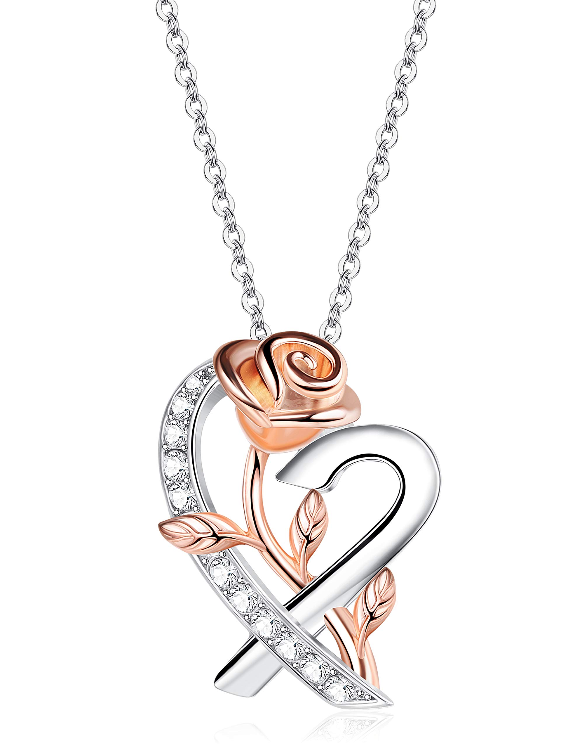 Sllaiss Sterling Silver Rose Heart Pendant Necklace for Women 14K Gold Plated Flower Love Pendant Crystals from Swarovski Mother's Day Jewelry Gift for Women