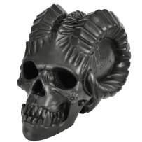 Myard Fireproof Demon Fire Pit Skull (Hollow, Flame from Eye Holes) Gas Log for Fireplace, Firepit, Camp Fire, Halloween Decor (Demon Black Skull, 1pk)