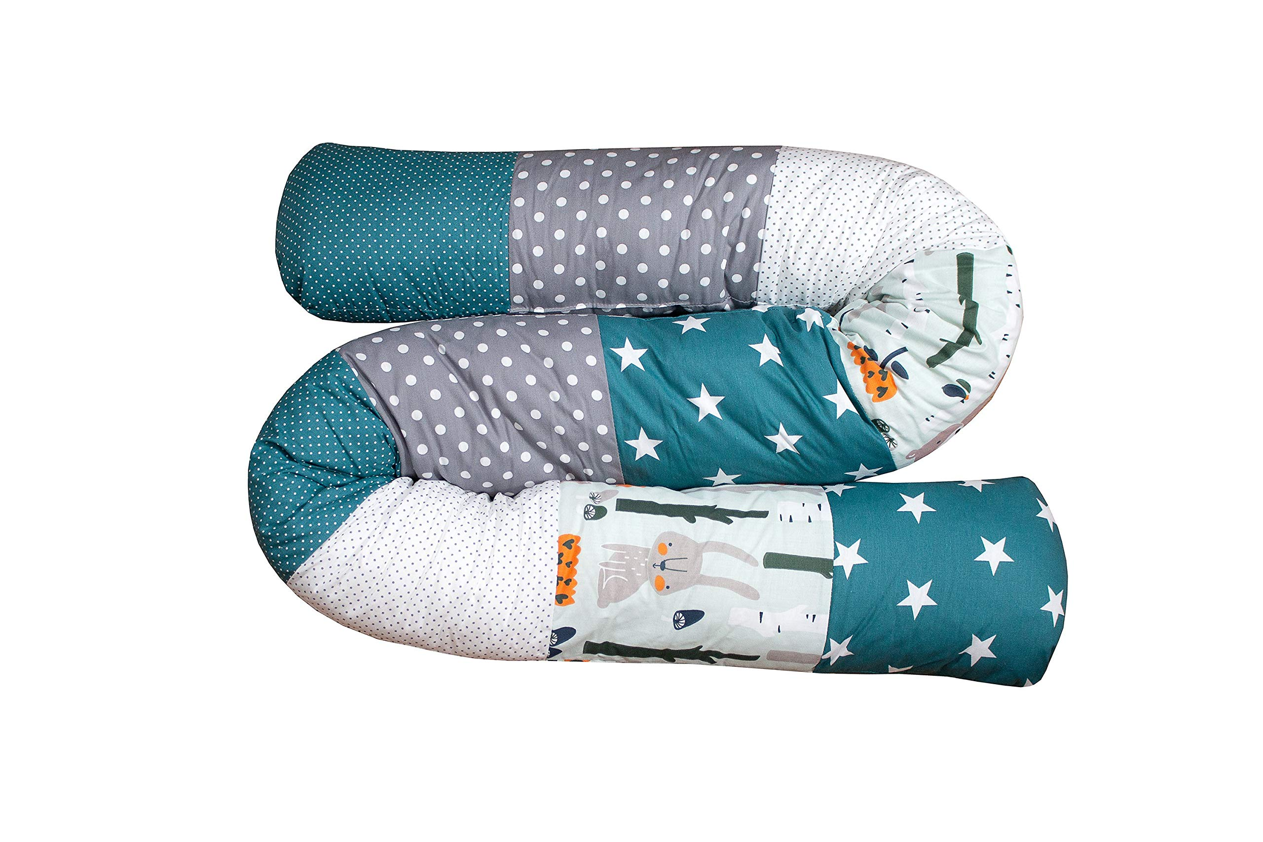 "Snake Pillow Bumper by ULLENBOOM | Woodland/Stars/Polka Dots | Toddler Bed/Cot | 79"" Long - Unisex Teal/Grey"