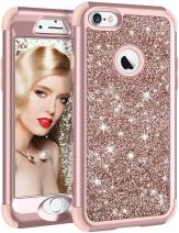 Vofolen Bling Cover for iPhone 6S Case iPhone 6 Case Glitter Bling Shiny Heavy Duty Protection Full-body Protective Hard Shell Hybrid Silicone Rubber Armor with Front Bumper for iPhone 6 6S -Rose Gold