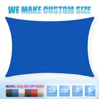 Amgo Custom Size 8' x 10' Blue Rectangle Sun Shade Sail ATAPR0812 Canopy Awning, 95% UV Blockage, Water & Air Permeable, Commercial and Residential, 5 Years Warranty (Available for Custom Sizes)