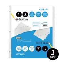 OS Plus 8-Tab, Write & Erase Binder Dividers with Single Pocket, White, 1 Set