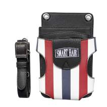 SMARTHAIR Professional Scissors Case Barber Scissor Holster Salon PU Leather Holster,Red White & Blue,SJ18703