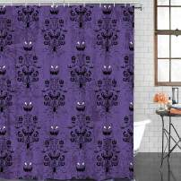 FAMILYDECOR Bathroom Shower Curtain - Halloween Decor Ghost Face Purple Pattern Shower Curtains Polyester Fabric Bath Curtain Waterproof Bathroom Curtain with Hooks, 48 X 72 Inch