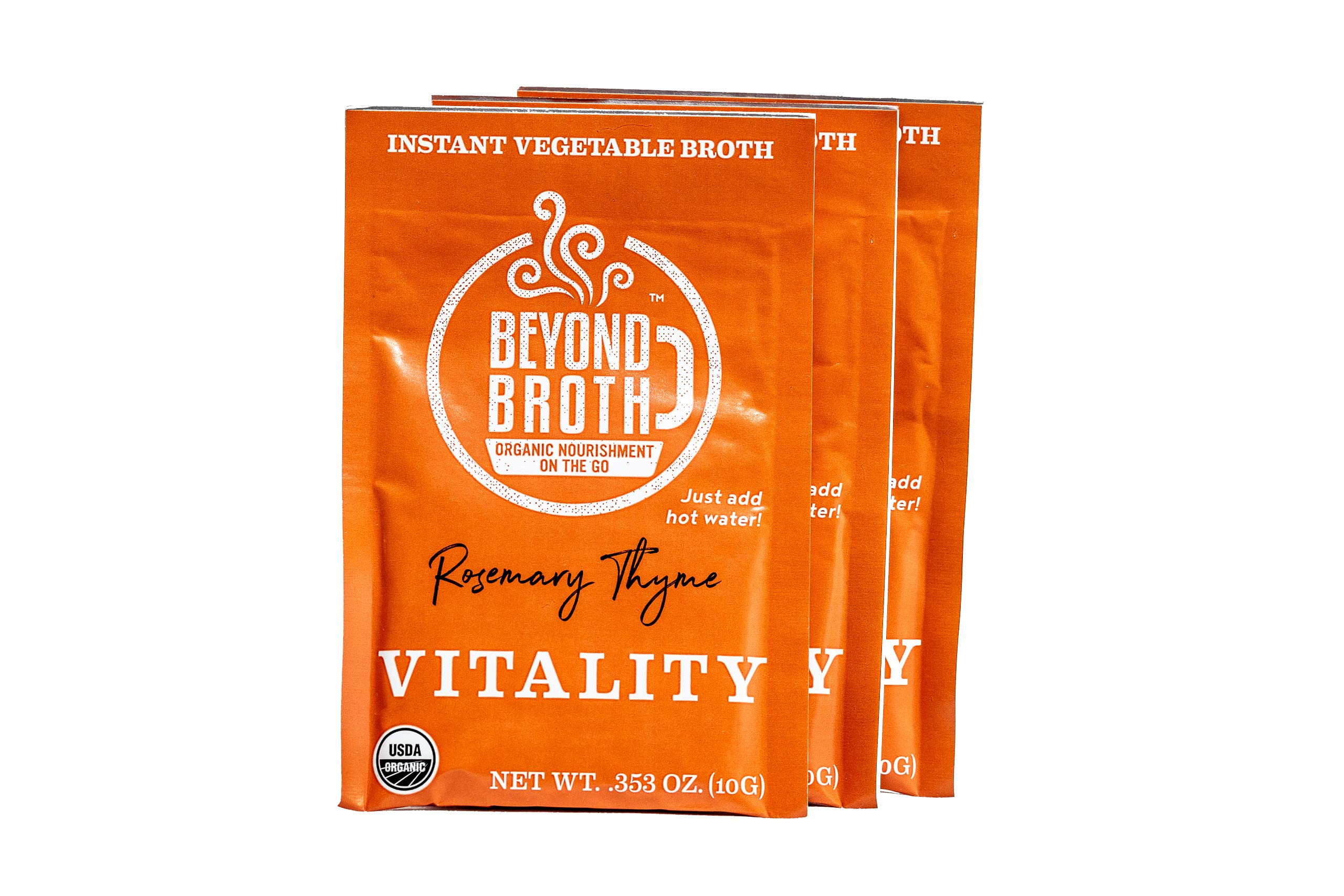 Beyond Broth Rosemary Thyme Vitality Organic Vegan Vegetable Instant Sipping Broth; For On The Go Or Cooking Keto, Paleo and Whole30 3 single serve packets, Made in the USA