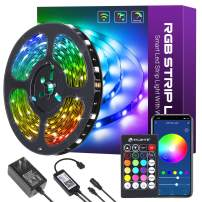 HitLights LED Strip Lights 32.8ft 5050 Smart Color Changing RGB LED Strips, Music Sync Light Strip Kit 24 Key Remote Controller Working with Alexa, Goole Home for Bedroom Party Home Decoration