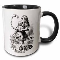 3dRose Wonderland Alice Two Tone Mug, 11oz, Black