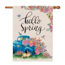 Hexagram Hello Spring Garden Flag 28 x 40 Blue Truck Colored Floral Flowers Double Sided Printing Thick Burlap Spring Yard Flags for Outdoors Yard Garden Porch Decorative Spring Flags Home Decor