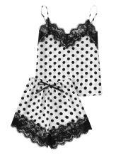 DIDK Women's Lace Trim Satin Cami and Shorts Pajama Set