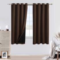 WONTEX 100% Blackout Curtains for Bedroom - Thermal Insulated, Energy Saving and Noise Reducing 2 Layers Lined Window Curtain Panels for Living Room, Brown, 52 x 63 inch, Set of 2 Grommet Curtains
