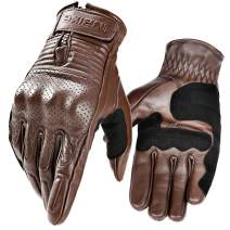 INBIKE Motorcycle Genuine Leather Gloves Men's Protective Motorbike Gloves Brown Medium