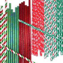 UNIQOOO 150Pcs Christmas Drinking Paper Straws,Biodegradable Disposable,6 Assorted Design,Pine Trees,Snowflake,Red Green Metallic Foiled,For Holidays Wedding Party Cake Pop Decoration 7.75 Inch/0.2Dia