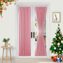 DWCN French Door Curtains – Rod Pocket Thermal Blackout Curtain for Doors with Glass Window, Kitchen and Patio Doors for Privacy, 25 X 72 Inches Long, 2 Curtain Panels with Tieback, Pink