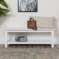 Walker Edison Furniture Company Farmhouse Wood Entryway Dining Bench, 50 Inch, White