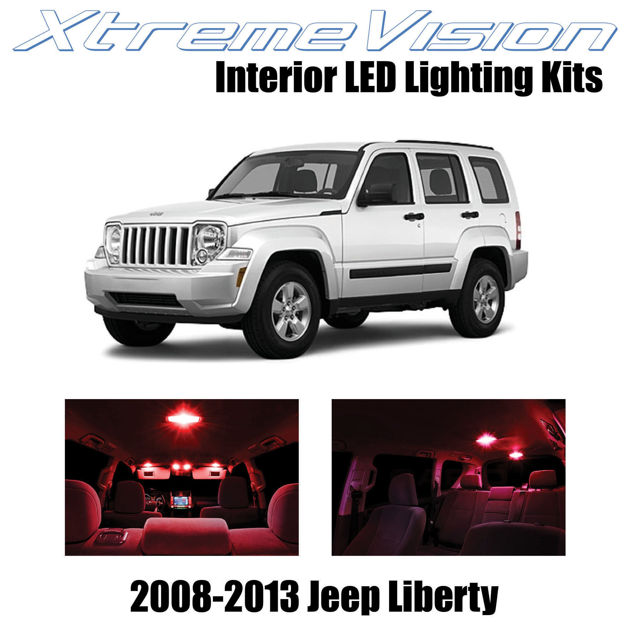 XtremeVision Interior LED for Jeep Liberty 2008-2013 (9 Pieces) Red Interior LED Kit + Installation Tool Tool