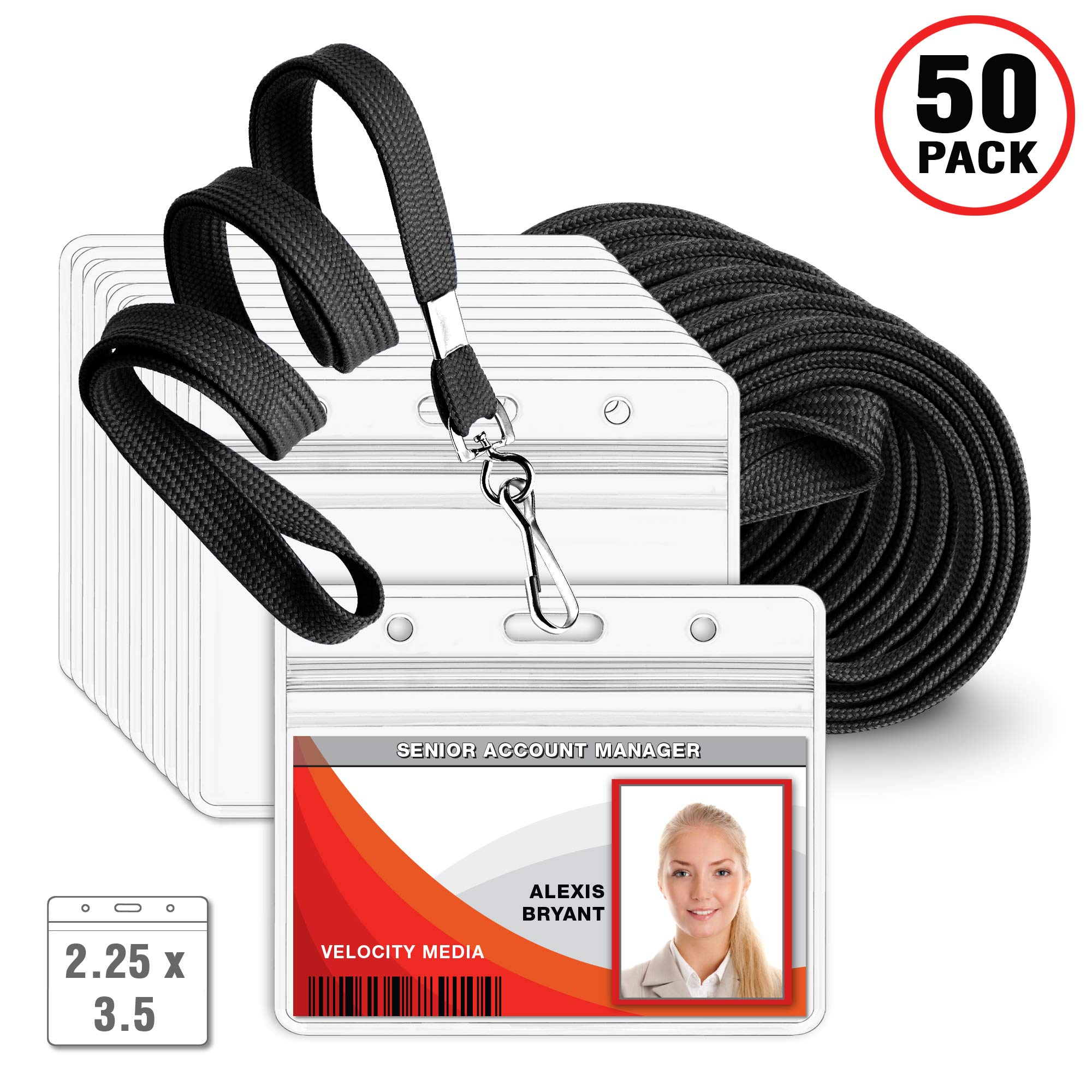 MIFFLIN Flat Lanyard with Horizontal ID Name Badge Holder Set (Black Lanyard, Clear 2.25x3.5 Inch Tag Holder, 50 Pack)