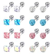 LOYALLOOK 8 Pairs 18G Stainless Steel Earring Studs for Women Corloful CZ Ball Heart Star Screwback Earrings Square Round Earrings Tragus Cartilage Earrings Set