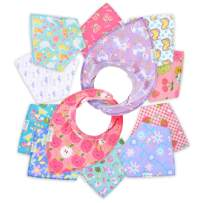 12- Pack Baby Bandana Drool Bibs for Drooling and Teething by Daulia, Unisex Super Absorbent Organic Cotton, Cute Baby Gift for Boys & Girls, Toddler Baby Shower Gift Set … (Farmyard Set)