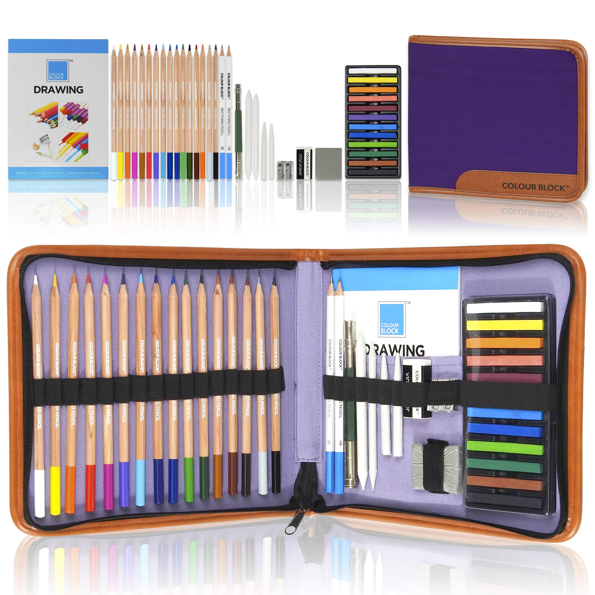 COLOUR BLOCK Drawing Travel Art Set - 40 PC, complete with 16 Drawing Colored Pencils Set, 12 Soft Pastels Set, 2 Sketching Pencils, Drawing Pad, and Assorted Tools in a Canvas Zippered Carry Case