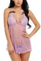 Avidlove Women Deep V Lingerie Lace Badydoll Dress Sexy Sleepwear Open Back Chemises Purple Small
