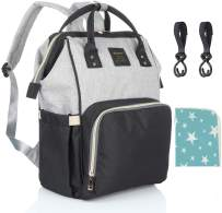 Diaper Backpack Multi-Function Waterproof Travel Baby Nappy Bag Large Capacity Stylish Durable Diaper Bag with Stroller Straps and Changing Pad for Mom, Dad, Baby Care (Gray&Black)