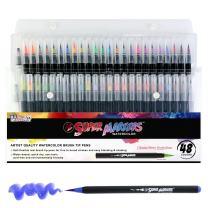 48 Color Super Markers Watercolor Soft Flexible Brush Tip Pens Set - Fine & Broad Lines, Vibrant Colors - Children & Adult Coloring Books, Manga, Comic, Calligraphy, Art