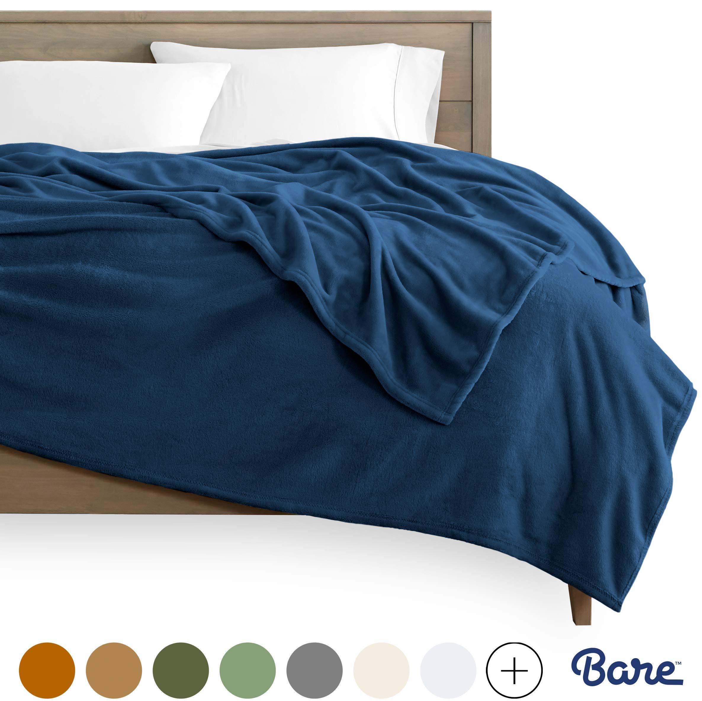 Bare Home Kids Microplush Fleece Blanket - Throw/Travel - Ultra-Soft Velvet - Luxurious Fuzzy Fleece Fur - Cozy Lightweight - Easy Care - All Season Premium Bed Blanket (Throw/Travel, Dark Blue)