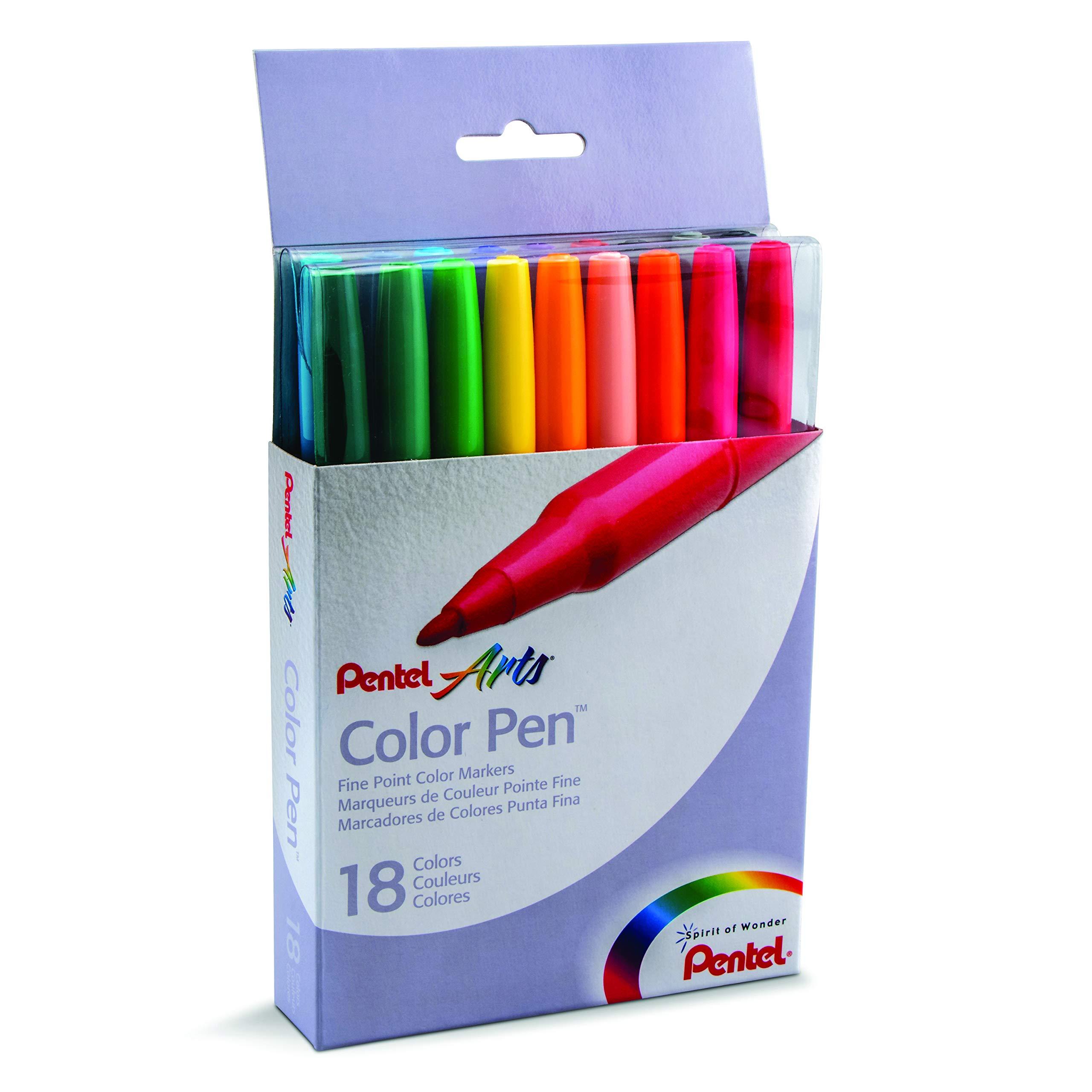 Pentel Color Pen Set, Water-Based, Fiber Tip, Assorted (S360-18)