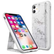 Amber & Ash Strap Stand Case for iPhone 11 (6.1in) - Vertical and Horizontal Kickstand - Hand Grip - Reinforced Drop Protection - Flexible TPU - Pearl Gray Marble