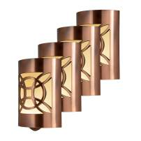GE CoverLite LED Night Light, 4 Pack, Plug-in, Dusk to Dawn Sensor, Home Decor, UL-Listed, Ideal for Kitchen, Bathroom, Bedroom, Office, Nursery, Hallway, 46457, Oil Rubbed Bronze | Geometric, 4