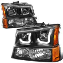 J-Halos LED DRL Headlight Signal Lamps Replacement for Chevy Avalanche SIlverado 03-07, Driver and Passenger Side, Black/Amber
