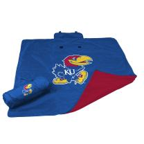 Logo Brands NCAA Kansas Jayhawks Unisex Adult All Weather Blanket, One Size, Multicolor