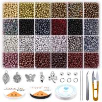 Yholin Glass Seed Beads Started Kit,7200pcs 4mm 6/0 Small Craft Beads with Jump Rings,Charms,Spacer Beads,Beading Needle,Tweezers,Scissors and Elastic String for DIY Bracelet Jewelry Making Supplies