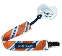 BooginHead Baby Newborn PaciGrip Pacifier Clip, Holder, Toy, Teether, Soothie, Universal Loop Boy, Orange Tie, Stripes, Orange, Blue, White