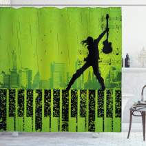 "Ambesonne Popstar Party Shower Curtain, Music in The City Theme Singer with Electric Guitar on Grunge Backdrop, Cloth Fabric Bathroom Decor Set with Hooks, 70"" Long, Green Black"