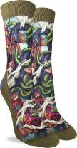 Good Luck Sock Women's Bird & Snake Crew Socks - Black, Adult Shoe Size 5-9