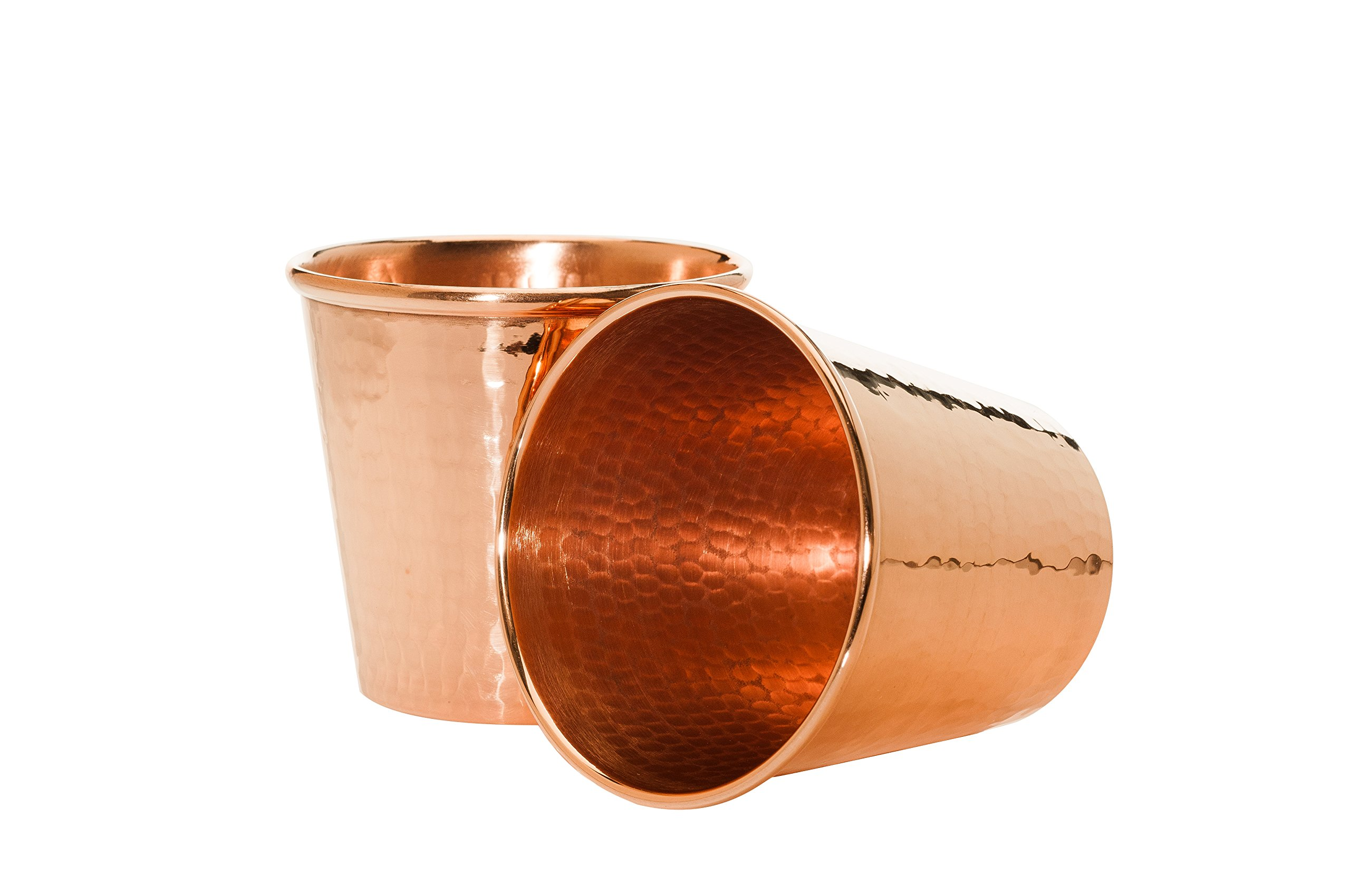 Sertodo Copper CC-12-2 Moscow Mule Mug without Handle, Hand Hammered 100% Pure Copper Apa Cup, 12 oz, Set of 2