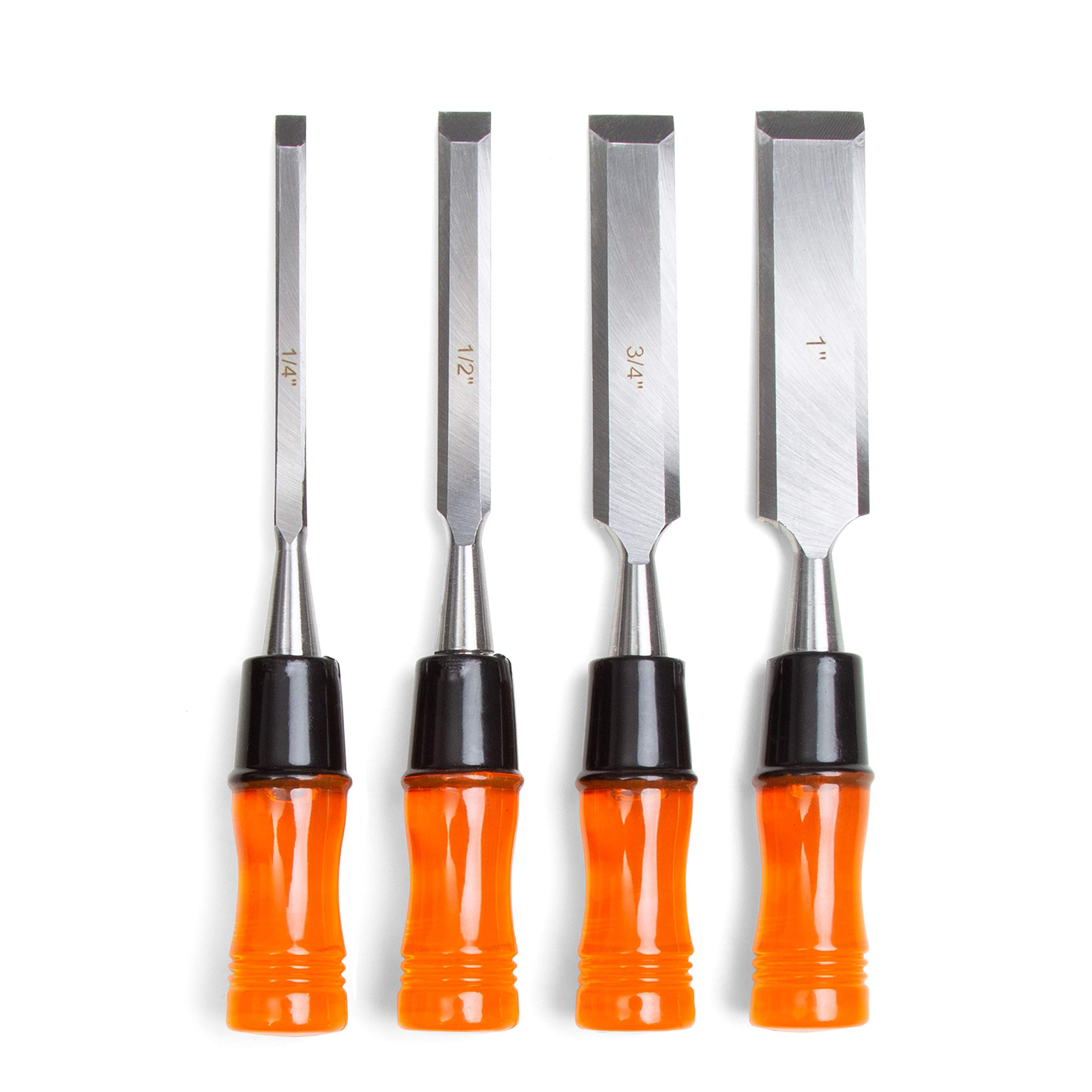 Woodworking Chisel Set, 4 Piece - Wood Hand Tools for Carving and Carpentry - Includes 4 Chisels and Carry Pouch